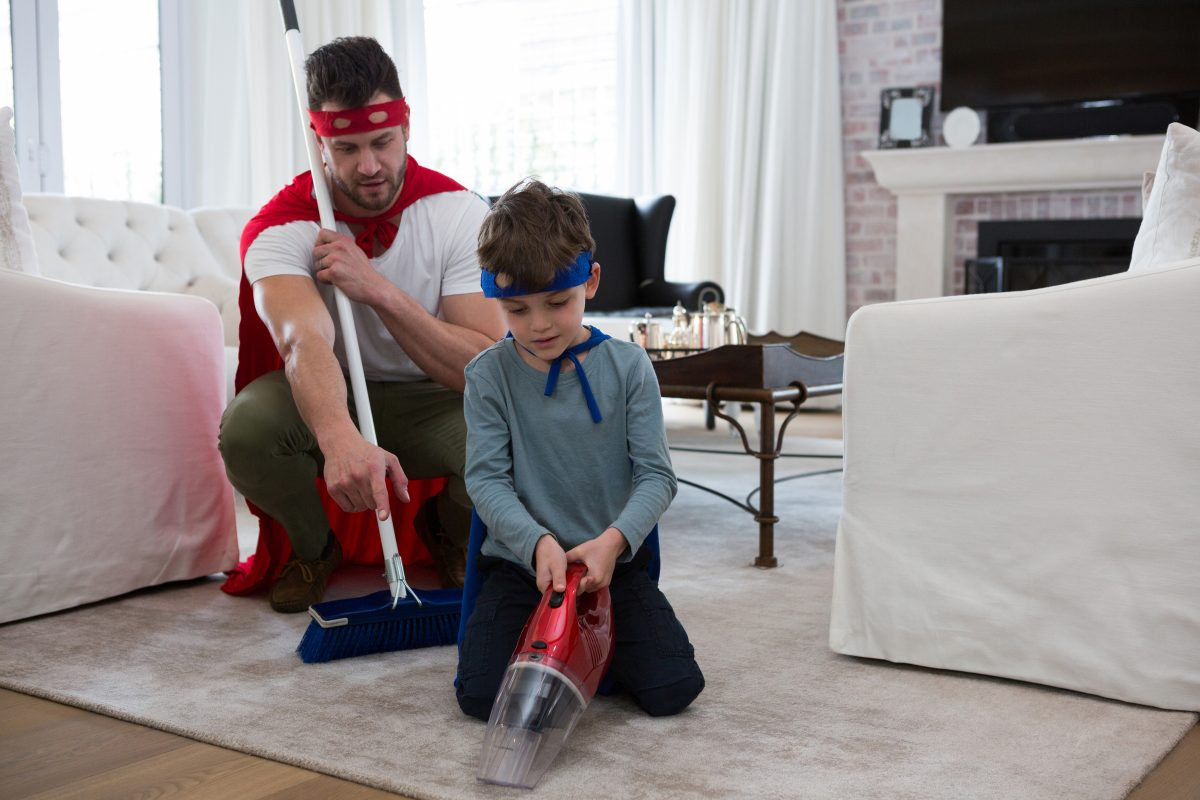 father and son providing a deep carpet clean