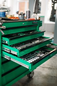 organized open tool chest in a garage